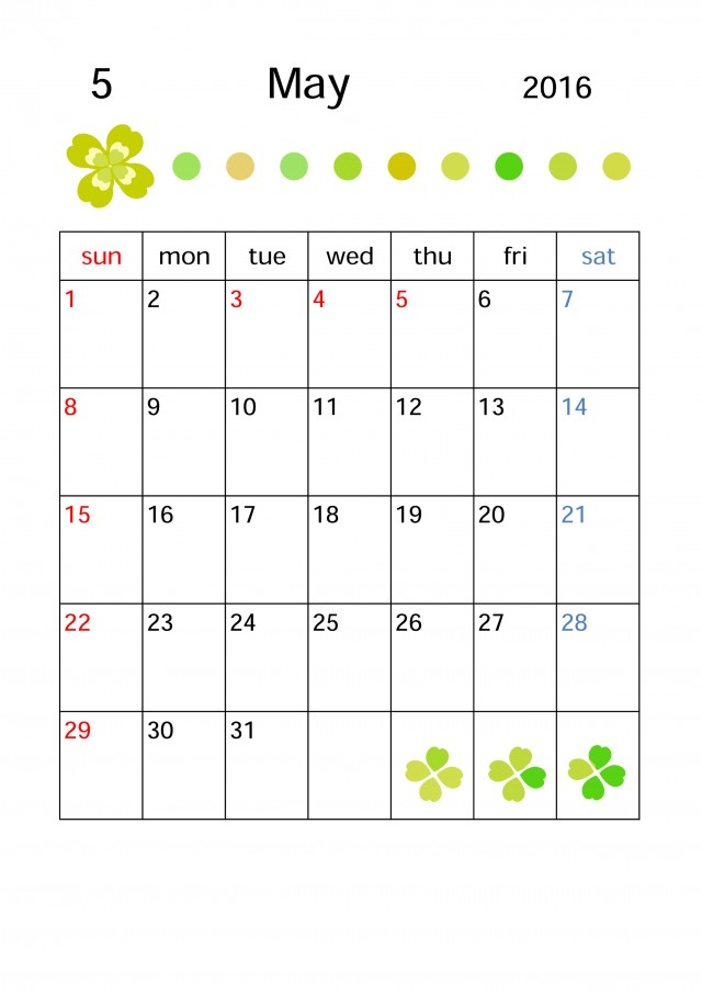 カレンダー 5月