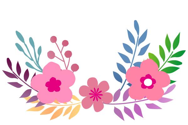 花と葉っぱのイラ…