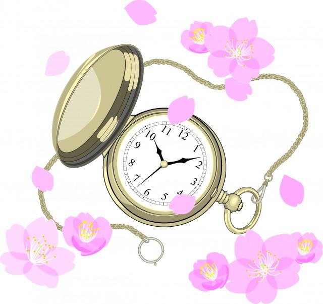 桜と懐中時計