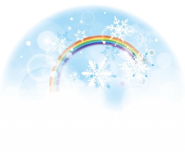 虹と雪のイラスト…