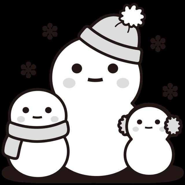 雪だるま<白黒イラスト>