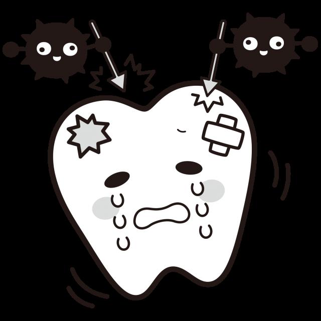 虫歯<白黒イラスト>