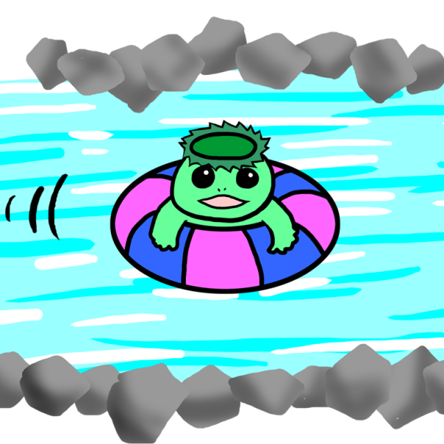 無料イラスト素材:ことわざ 河童の川流れ