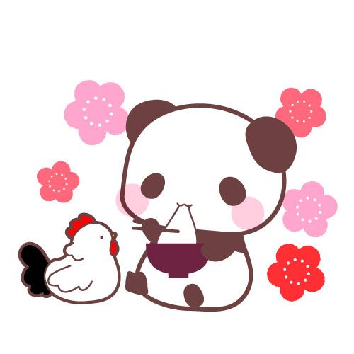 パンダと鶏(にわとり)酉年年賀状正月素材