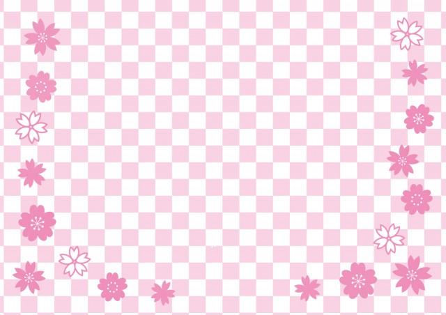 桜と市松模様(ピ…