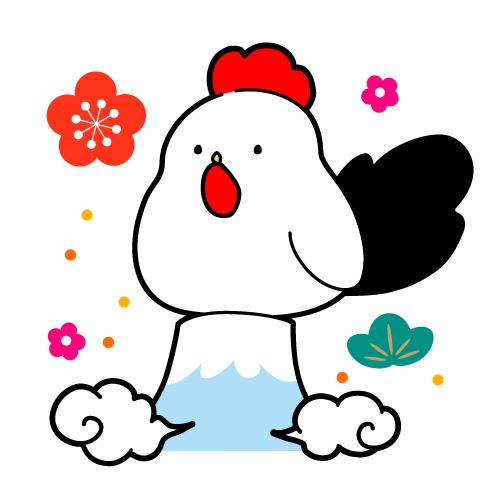 にわとりと富士山のイラスト【2017年酉年年賀状素材】