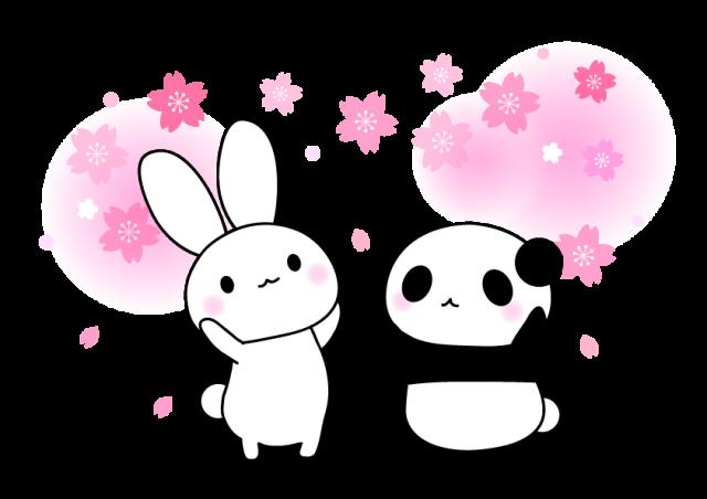 無料イラスト素材:桜・うさぎ ... : 塗り絵 花 無料ダウンロード : 無料