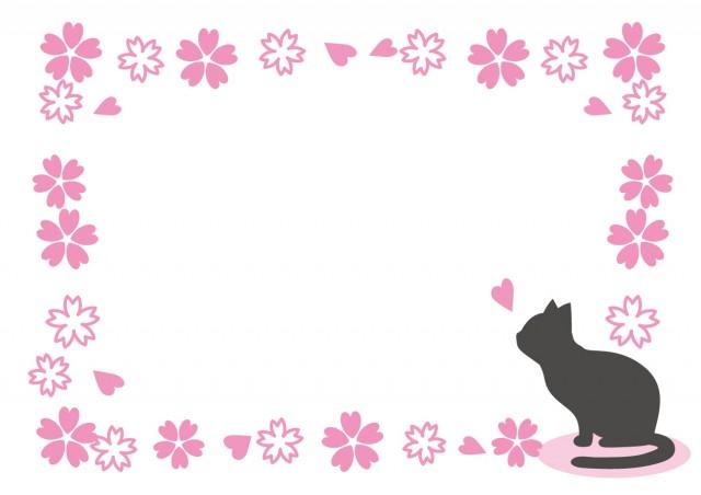 猫と桜のフレーム…