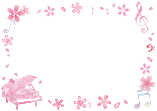 無料イラスト素材:桜柄ピアノ ... : メッセージカードテンプレート無料ありがとう : カード