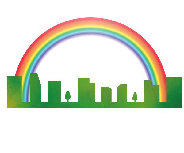 虹とビルのイラス…
