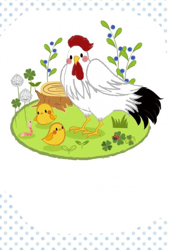 かわいい鶏の親子