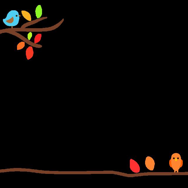 無料イラスト素材:小鳥の秋フレームのイラスト
