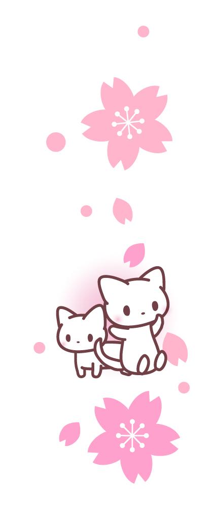 縦長・猫と桜のイ…