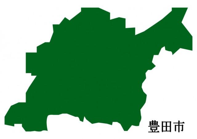無料イラスト素材:愛知県豊田市(とよたし)の地図(緑塗り)