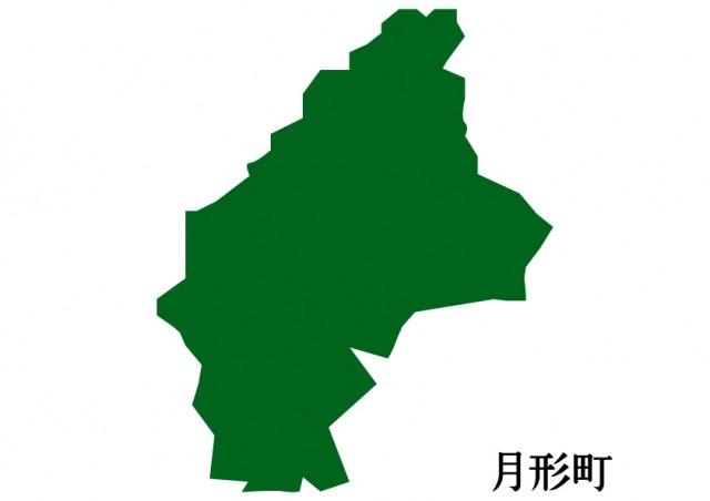 無料イラスト素材:北海道月形町(つきがたちょう)の地図(緑…