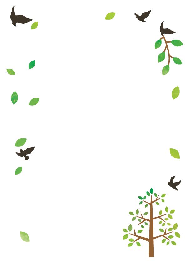 鳥と木のフレーム…