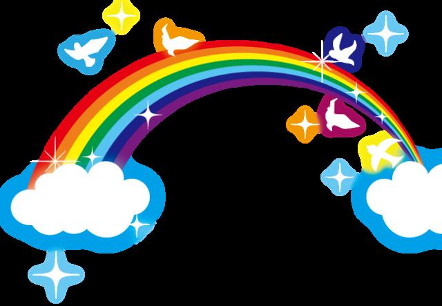 虹と鳥のイラスト
