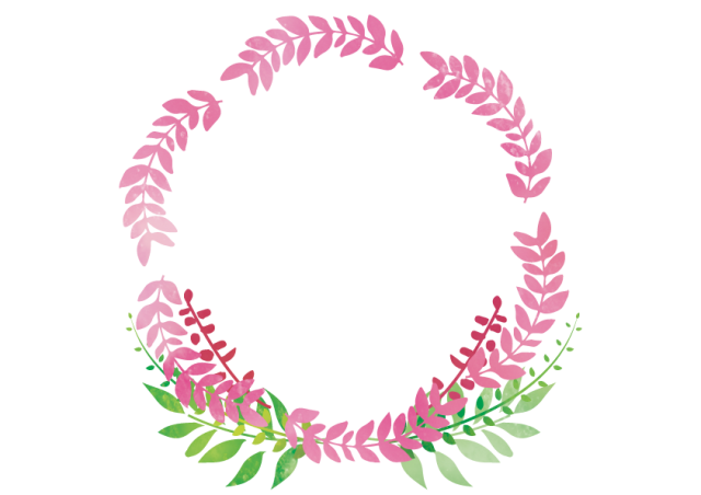 葉っぱのリース風イラスト 無料イラスト素材素材ラボ
