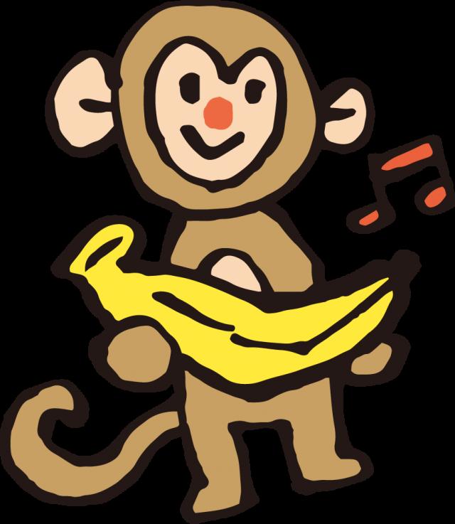 手書き風のサルとバナナ動物果物フルーツ 無料イラスト素材素材ラボ