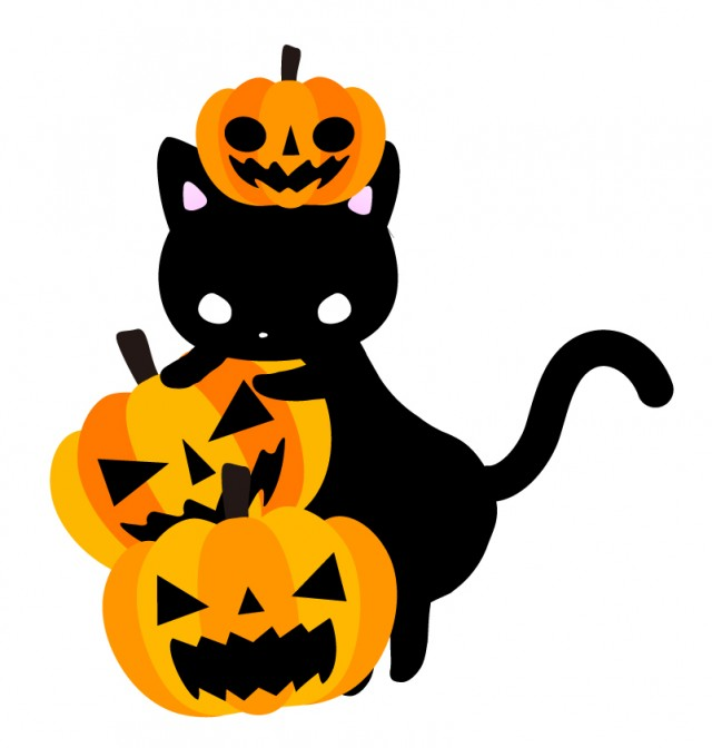 ハロウィンかぼちゃのお化けと黒ねこのイラスト 無料イラスト素材