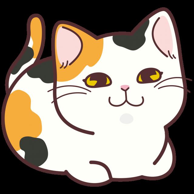 香箱座りの三毛猫 無料イラスト素材素材ラボ