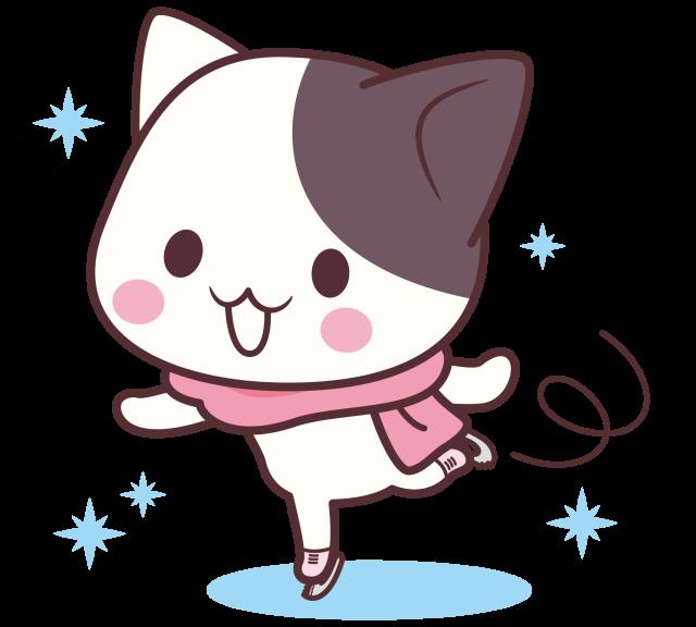 ぶち猫 にゃんこスケートすいすい 無料イラスト素材素材ラボ