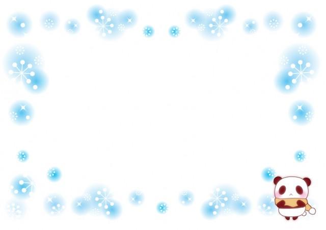 パンダと雪のフレーム飾り枠 無料イラスト素材素材ラボ