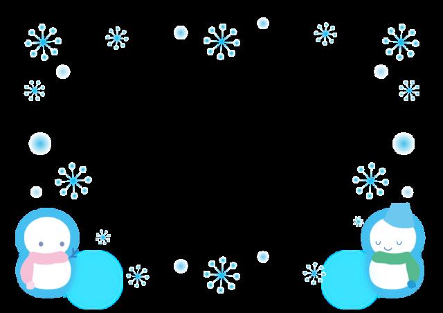 雪と雪だるまのフレーム飾り枠 無料イラスト素材素材ラボ