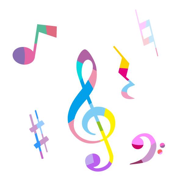 カラフルなト音記号と音楽記号のイラスト 無料イラスト素材素材ラボ