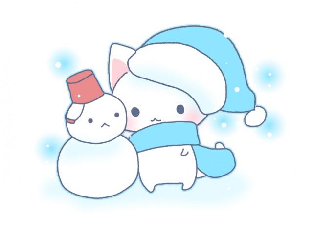 猫と雪だるまのイラスト素材