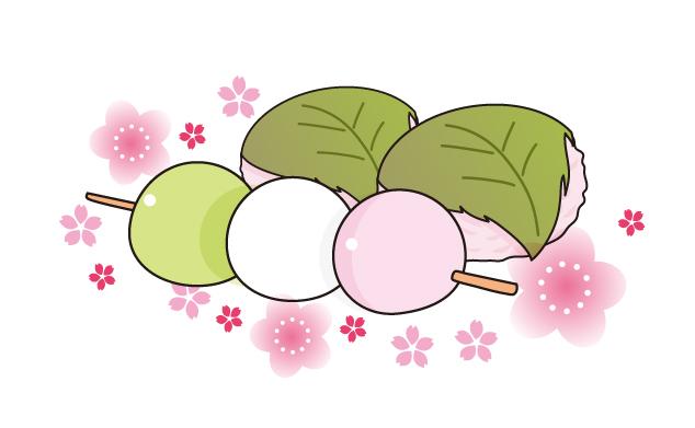 桜餅と三色団子のイラスト素材 無料イラスト素材素材ラボ