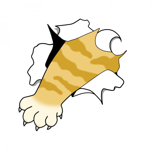 破けたイラスト猫の手 無料イラスト素材素材ラボ