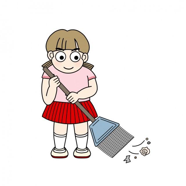 学校のイラスト掃除の時間掃き掃除 無料イラスト素材素材ラボ