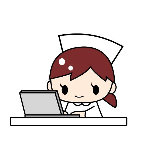 パソコンを使っている看護師 医療事務 無料イラスト素材 素材ラボ