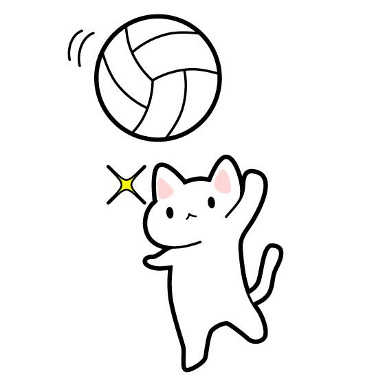 バレーボール猫のイラスト