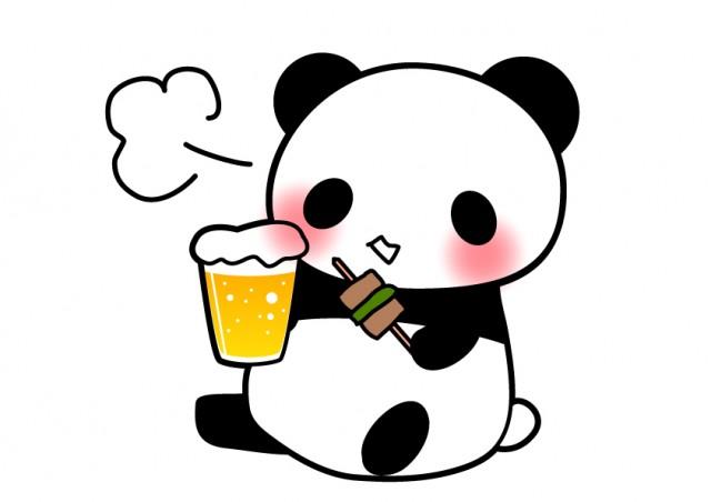 ビールと酔っ払いパンダ 無料イラスト素材 素材ラボ