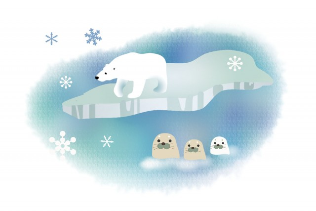 白クマとアザラシ 無料イラスト素材素材ラボ
