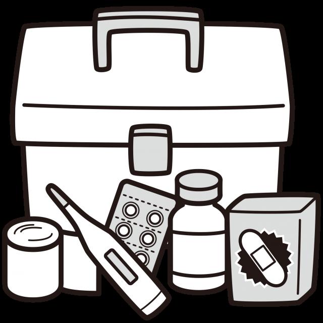 救急箱白黒イラスト 無料イラスト素材素材ラボ