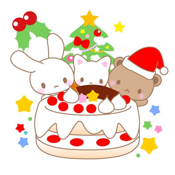 クリスマスケーキくまパンダ猫のイラスト 無料イラスト素材
