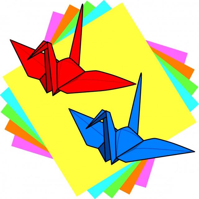 折り紙と鶴 無料イラスト素材素材ラボ
