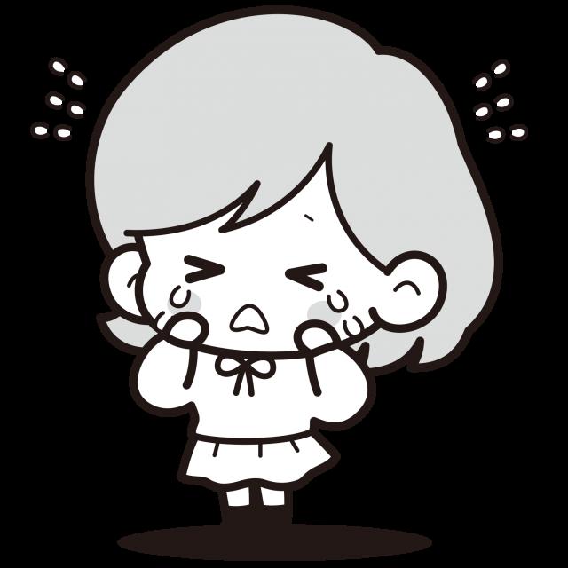 泣いている女の子白黒イラスト 無料イラスト素材素材ラボ