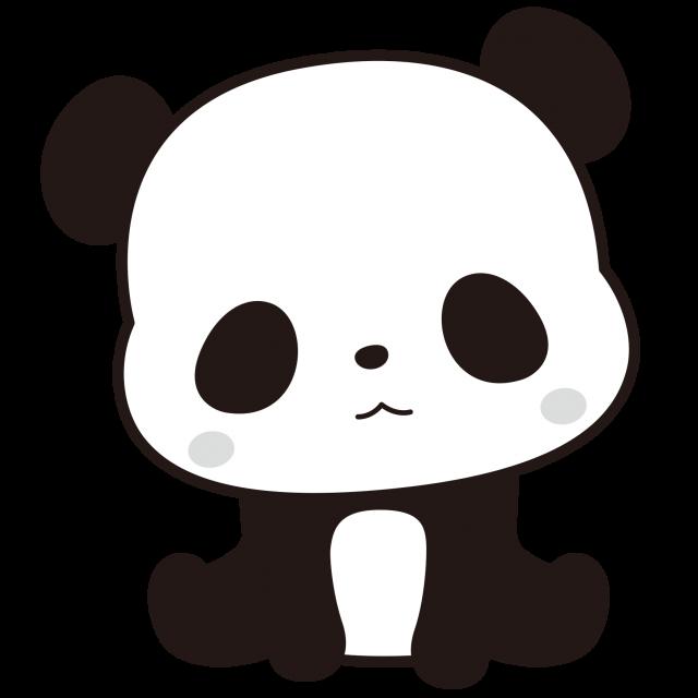 パンダ<白黒イラスト>