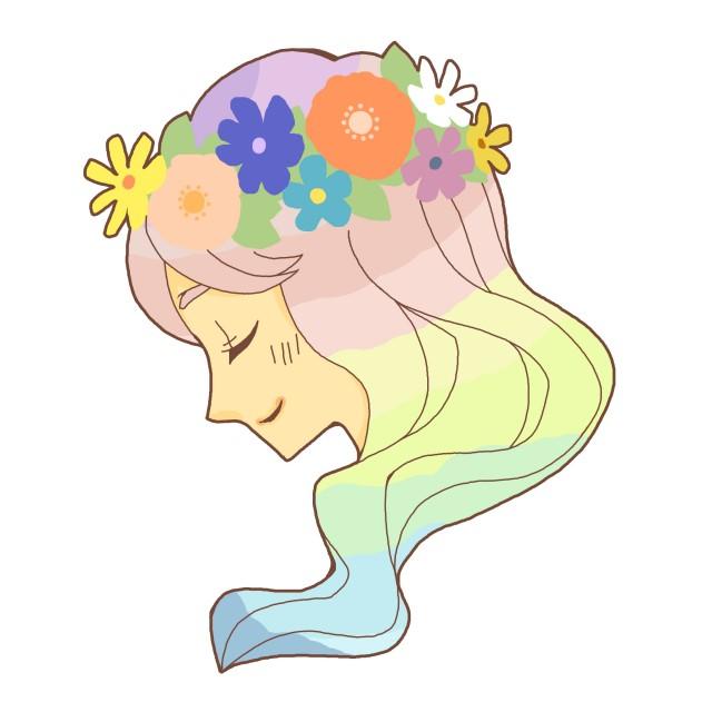 花冠をつける女の子 無料イラスト素材素材ラボ
