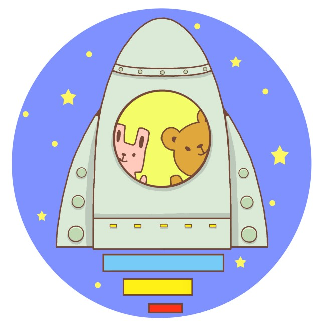 宇宙船の窓から覗くクマとウサギ 無料イラスト素材素材ラボ
