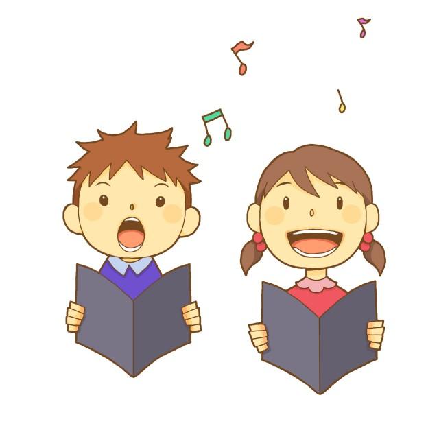 合唱する男の子と女の子 無料イラスト素材素材ラボ