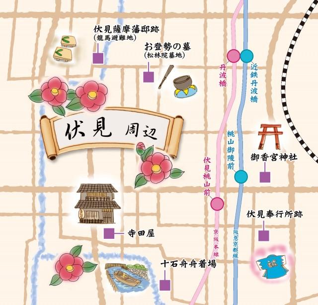 地図素材 京都の地図 京都伏見周辺 無料イラスト素材素材ラボ