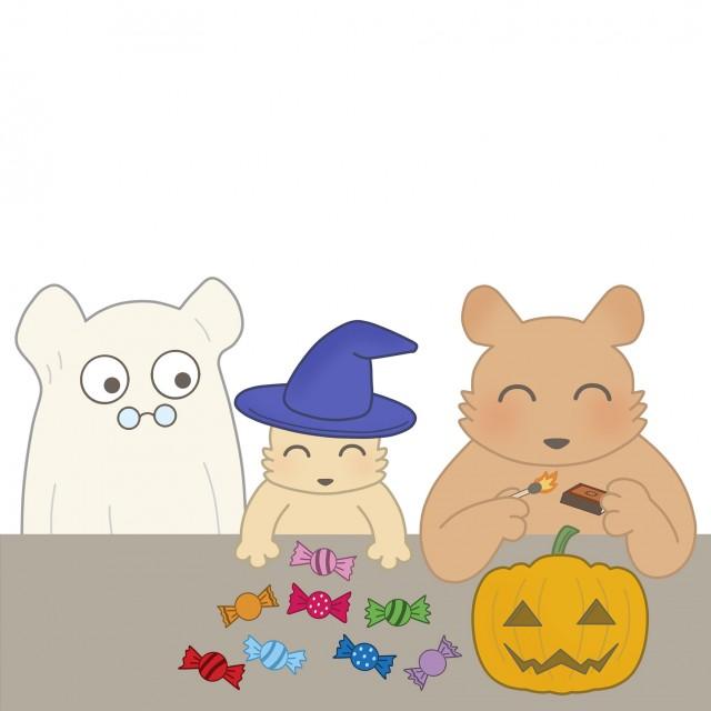 10月のイラストハロウィンのクマの親子 無料イラスト素材素材ラボ