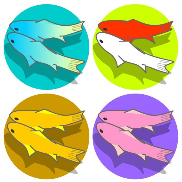 二匹のお魚イラストアイコンセット 無料イラスト素材素材ラボ