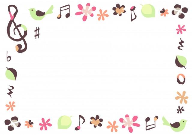 春の音楽フレーム 小鳥 無料イラスト素材素材ラボ