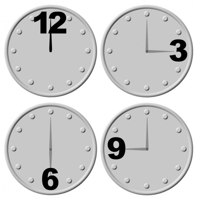 12時3時6時9時時計のイラストアイコンセット 無料イラスト